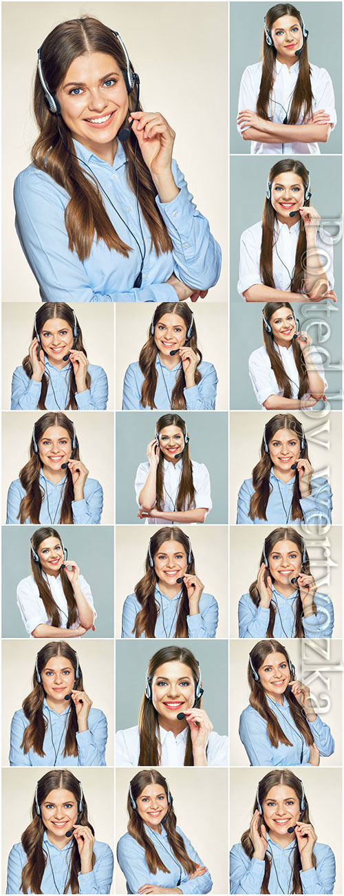 Girl with headphones, operator stock photo