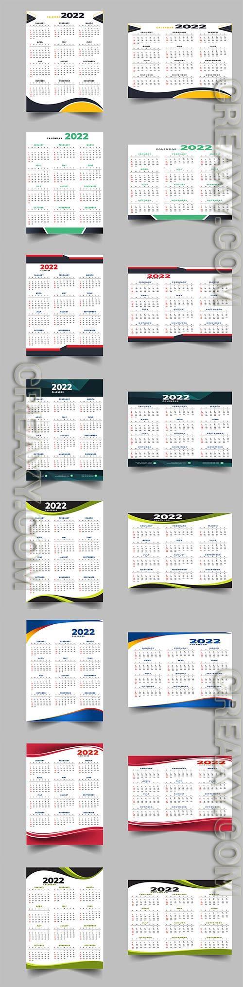 2022 calendar design template premium vector