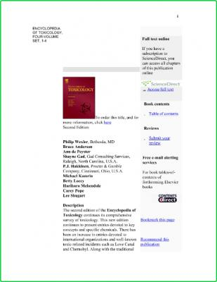 Encyclopedia of Toxicology Vol 1